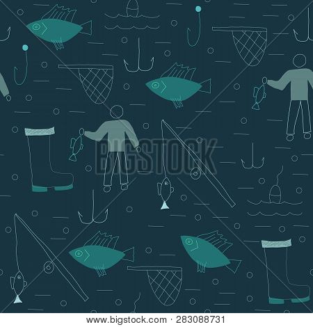 Seamless Pattern With Fishing Elements. Vector Illustration.