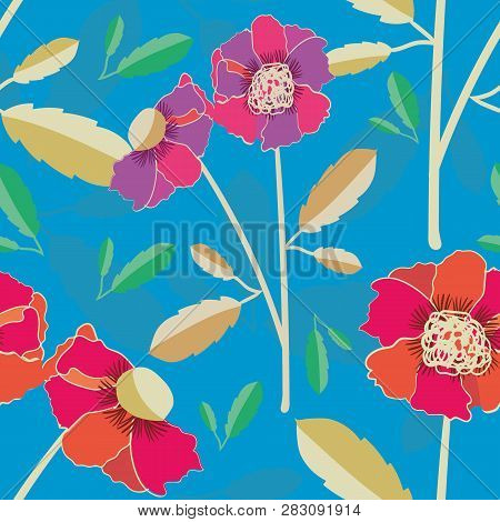 Vibrant Hand Drawn Poppies Vector Seamless Pattern On Subtly Textured Bright Blue Background. Colour