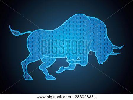 Bull Hexagonal Stock Market Blue Technology Background