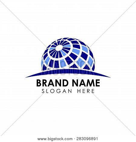 3D Digital Globe Logo Design. Globe Vector Icon Symbol Design