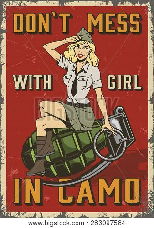 Retro Military Colorful Poster With Pin Up Saluting Soldier Blonde Woman Sitting On Grenade In Vinta