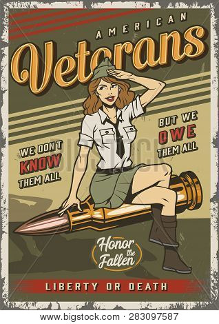 Vintage Colorful Military Template With Pin Up Attractive Soldier Girl Sitting On Bullet Vector Illu