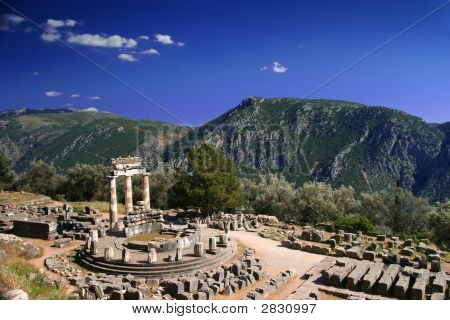 Delphi, Tholos, At Late Afternoon With Clouds