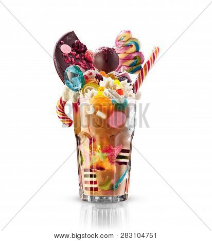 Monster Shake, Freak Caramel Shake Isolated. Colourful, Festive Milk Shake Cocktail With Sweets, Jel