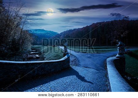 Park Among Mountain In Autumn At Night In Full Moon Light. Trees In Colorful Foliage, Vivid Grassy G