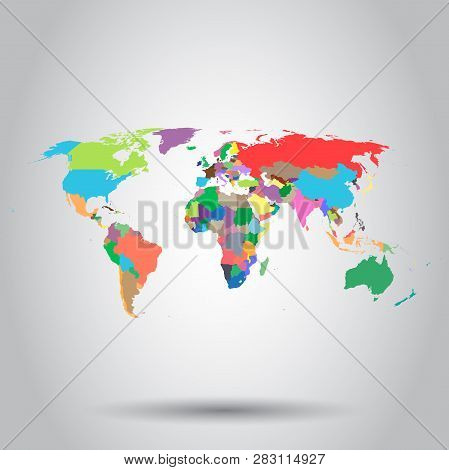 World Map Colorful Political Icon. Business Concept World Map Pictogram. Vector Illustration On Whit