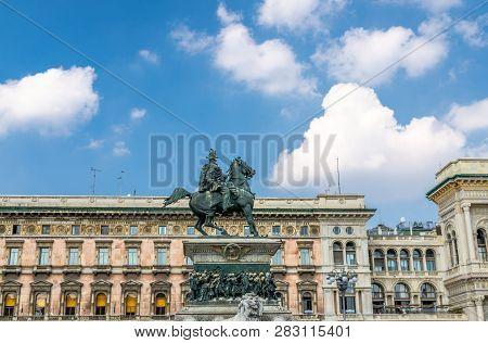 Statue di Vittorio Emanuele II a cavallo monument on Piazza del Duomo square in front of Gallery Vittorio Emanuele II near Duomo di Milano cathedral in Milan historical city centre, Italy poster