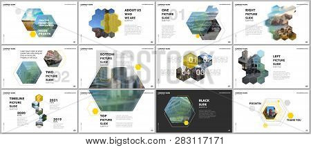 Minimal Presentations Design, Portfolio Vector Templates With Hexagons And Hexagonal Elements. Multi