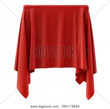 Red Cloth On A Square Pedestal, Isolated On White. 3d Illustration