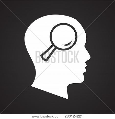 Human Head With Loupe Icon On Black Background For Graphic And Web Design, Modern Simple Vector Sign