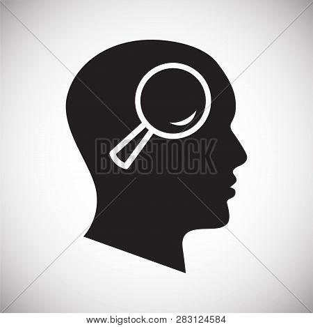 Human Head With Loupe Icon On White Background For Graphic And Web Design, Modern Simple Vector Sign
