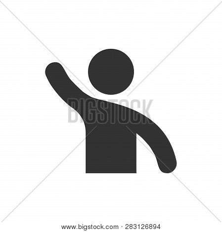 People Greeting With Hand Up Icon In Flat Style. Person Gesture Vector Illustration On White Isolate
