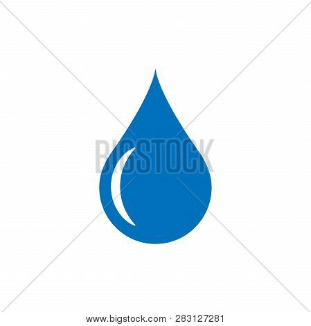Water Drop Icon In Flat Style. Raindrop Vector Illustration On White Isolated Background. Droplet Wa