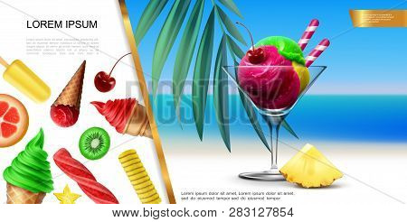 Realistic Ice Cream Concept With Colorful Scoops In Glass On Sea Landscape And Fruit Icecream With C