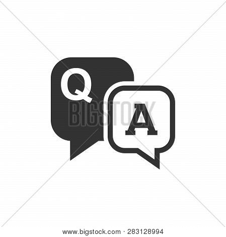 Question And Answer Icon In Flat Style. Discussion Speech Bubble Vector Illustration On White Isolat