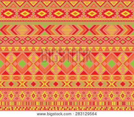 Navajo American Indian Pattern Tribal Ethnic Motifs Geometric Seamless Background. Rich Native Ameri