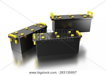 3d Rendering. 24v Battery For Truck On White Background. Commercial Vehicle Accumulator. Black Truck