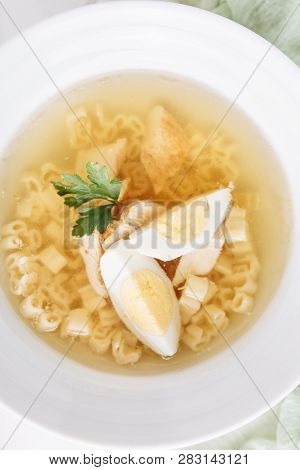 Chicken Noodle Soup With Egg Top Down Closeup