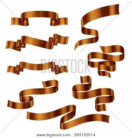 Set Of Brown Metallic Ribbons, Vector Collection Of Banners, Eps 10 Contains Transparency
