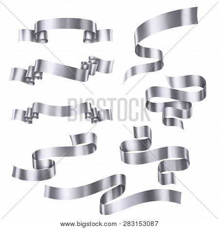 Set Of Silver Metallic Ribbons, Vector Collection Of Banners, Eps 10 Contains Transparency