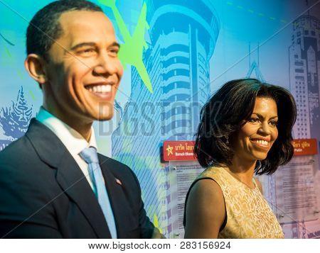 BANGKOK, THAILAND - JANUARY 08, 2019: Michelle Obama and Barack Obama wax figure, Madame Tussaud Museum