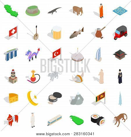 World Tourism Icons Set. Isometric Style Of 36 World Tourism Icons For Web Isolated On White Backgro