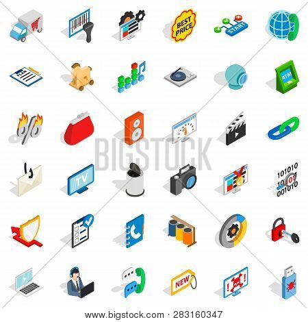 Www Spam Icons Set. Isometric Style Of 36 Www Spam Icons For Web Isolated On White Background