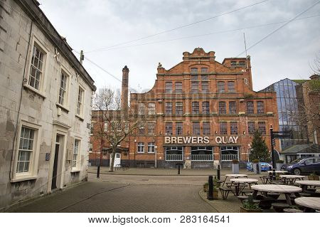 Weymouth, United Kingdom - December 26, 2017 - View Of The Brewers Quay Building In Hope Square In T