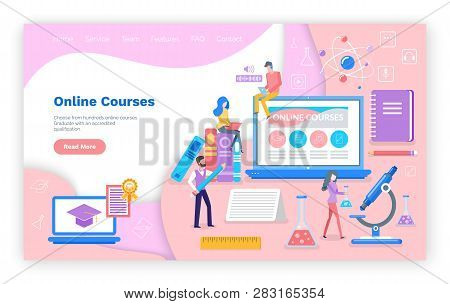 Online Courses New Innovative Study Technology Vector. Website With Text Sample, People Reading And