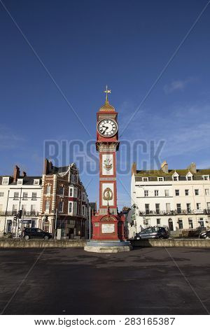 Weymouth, Dorset, Uk - December 26, 2017. The Jubilee Clock On Weymouth Seafront. The Clock Was Erec