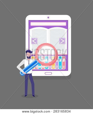 Man Holding Big Loupe, Online Library Web Page, Using Tablet For Distance Learning And Education. Op