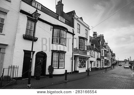 Weymouth, United Kingdom - December 26, 2017 - View Of Shops In The Old Harbour Area, Weymouth, Dors