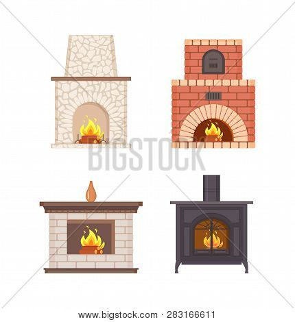 Fireplace With Wooden Shelf And Vase On Top Vector Isolated Icons Set. Bricks And Stones Pavement, I