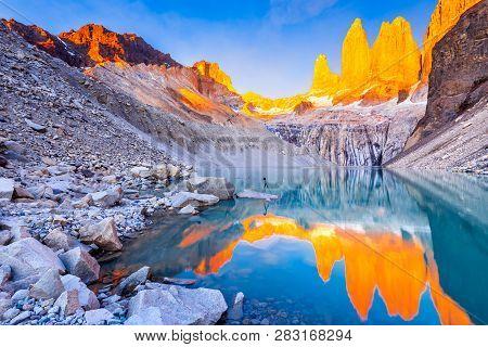 Torres Del Paine, Chile, Laguna Torres, Famous Landmark Of Patagonia, South America