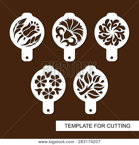 Set Of Coffee Stencils. For Drawing Picture On Cappuccino, Macchiato And Latte . Floral Theme. Silho