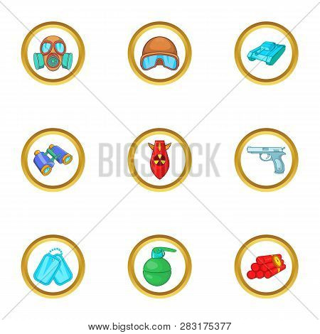 Armament Icons Set. Cartoon Set Of 9 Armament Icons For Web Isolated On White Background