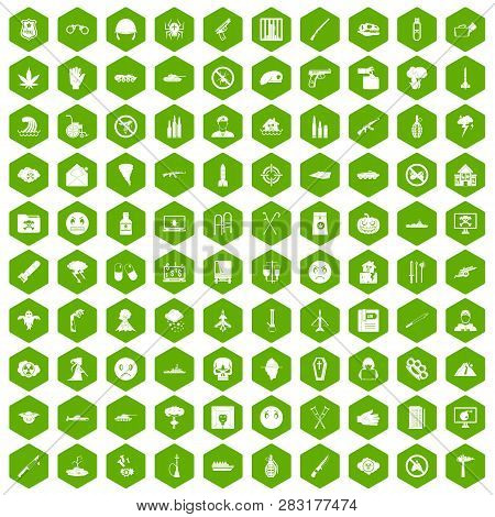 100 oppression icons set in green hexagon isolated illustration poster