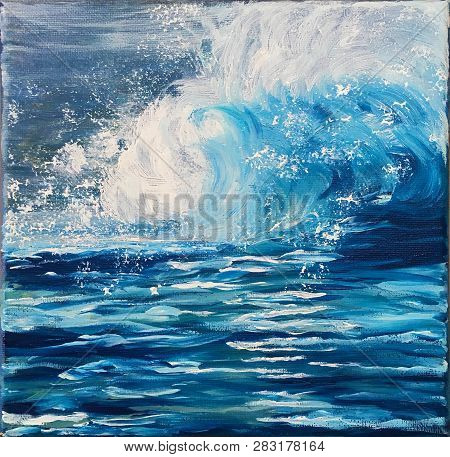 Acrylic Painting On Canvas Of Stormy Ocean Waves