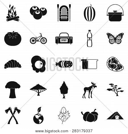 Hiking In The Wilderness Icons Set. Simple Set Of 25 Hiking In The Wilderness Icons For Web Isolated