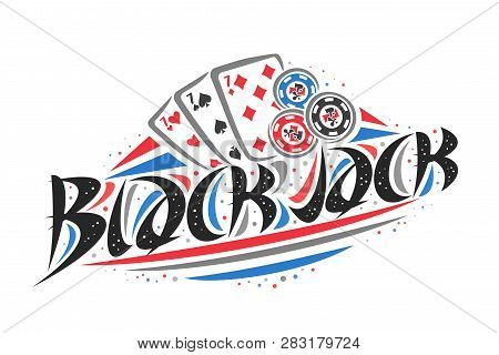 Vector Logo For Blackjack, Creative Illustration Of Three Sevens Of Different Suits, Original Decora
