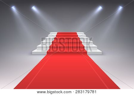 Realistic Red Carpet. Vip Spotlight Event Stairs, Award Entrance Ceremony Staircase To Success. Luxu