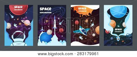 Cartoon Space Banners. Galaxy Universe Science Child Astronaut Modern Planet Poster Study Banner. Ve