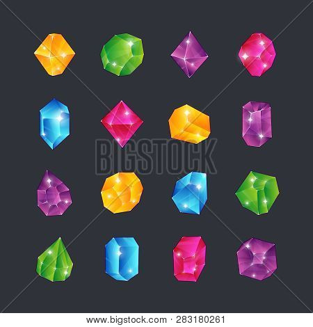 Cartoon Gems. Gem Stones Jewels Diamonds Topaz Stone Emerald Ruby Sapphire Glance Clear Glass Brilli