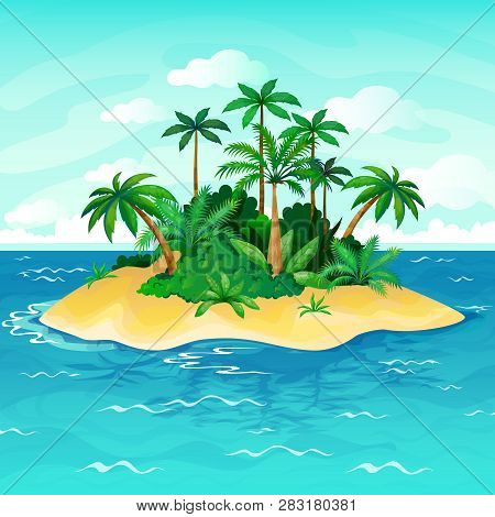 Ocean Island Cartoon. Palm Trees Sea Uninhabited Islands Sky Sand Beach Sun Panorama View Solitude T