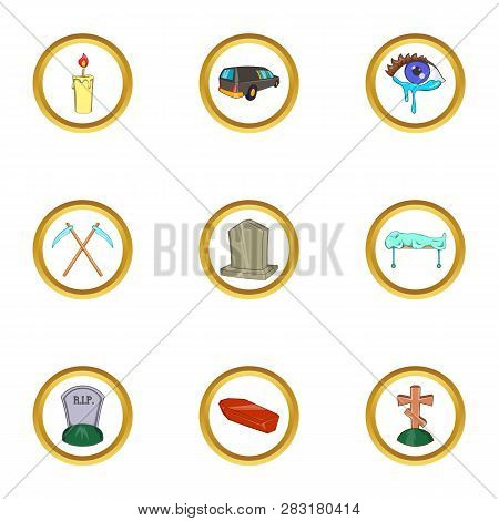Funeral Ceremony Icon Set. Cartoon Set Of 9 Funeral Ceremony Icons For Web Isolated On White Backgro
