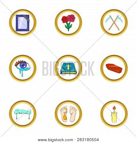 Death Ceremony Icon Set. Cartoon Set Of 9 Death Ceremony Icons For Web Isolated On White Background