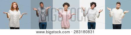 Collage of group of african american and hispanic people wearing winter sweater over vintage background clueless and confused expression with arms and hands raised. Doubt concept.