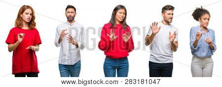 Collage of group chinese, indian, hispanic people over isolated background disgusted expression, displeased and fearful doing disgust face because aversion reaction. With hands raised. Annoying