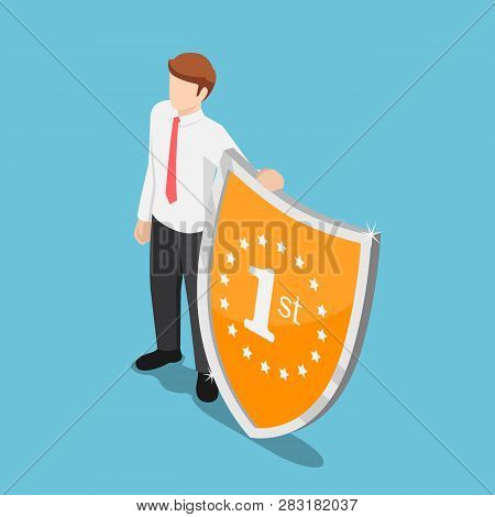 Flat 3d isometric businessman standing with winner shield. Outstanding employee and career success concept.