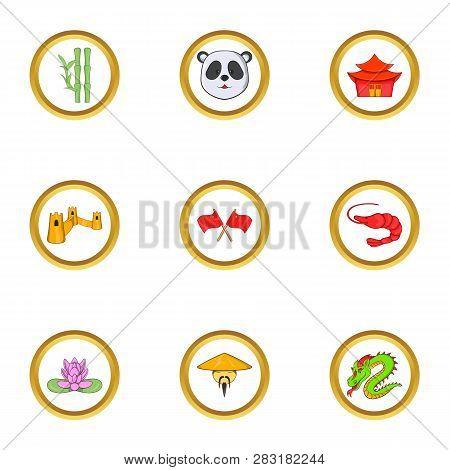 China Tourism Icon Set. Cartoon Set Of 9 China Tourism Icons For Web Isolated On White Background